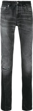 distressed slim-fit jeans - Black
