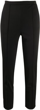 cropped slim fit trousers - Black