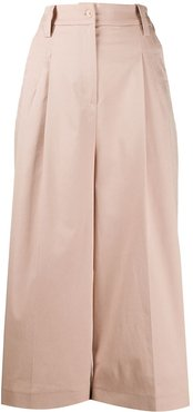 high-rise pleated-front culottes - Neutrals