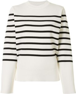 cut-out striped pullover - White