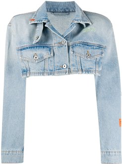 distressed cropped jacket - Blue