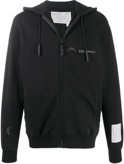 logo print zip-up hoodie - Black
