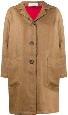 button down patch pocket coat - Brown