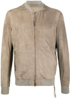 textured fitted bomber jacket - Brown