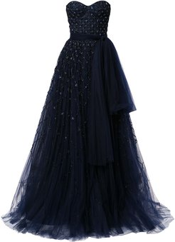bead-embellished strapless gown - Blue