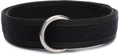 ring-buckle touch-strap belt - Black
