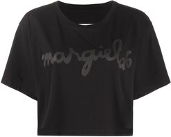 cropped logo print T-shirt - Black