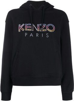 embellished-logo hooded sweatshirt - Black