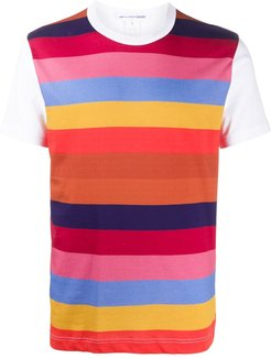 contrast-sleeve striped T-shirt - White