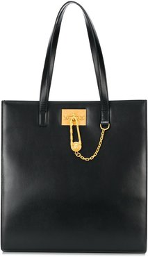 Medusa chain leather tote bag - Black