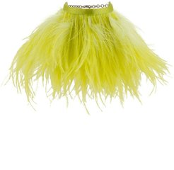 feather-embellished anklets - Yellow