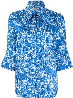 tie-neck silk shirt - Blue