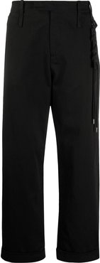 side lace detail cropped trousers - Black