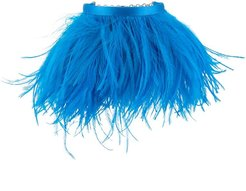 feather-embellished chain anklet - Blue