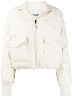 logo embroidered padded light jacket - Neutrals