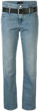 belted straight leg jeans - Blue