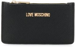 logo zipped wallet - Black