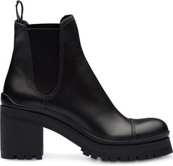 leather platform boots - Black