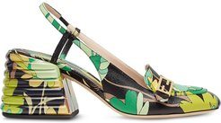 Promenade floral-print slingback loafers - Green