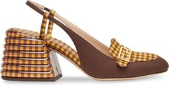 Promenade checked slingback loafers - Yellow
