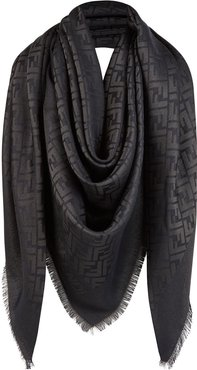 large jacquard FF motif shawl - Black