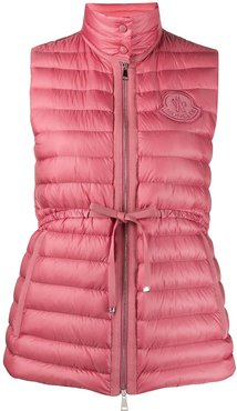 drawstring-waist quilted down gilet - PINK