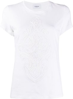 embroidered front cotton blend T-shirt - White