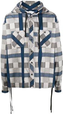 check print drawstring shirt - Grey