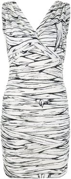 ruched fitted mini dress - White