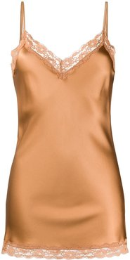 lace-trimmed satin camisole - Brown