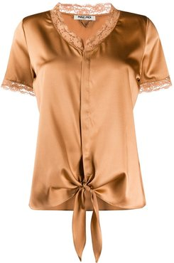 lace-trimmed satin blouse - Brown