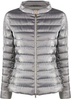 zip-through quilted-down jacket - SILVER