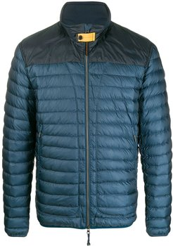 contrast-yoke quilted down jacket - Blue
