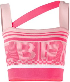 logo knitted cropped top - PINK