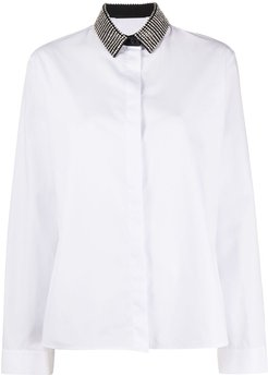gemstone collar buttoned shirt - White