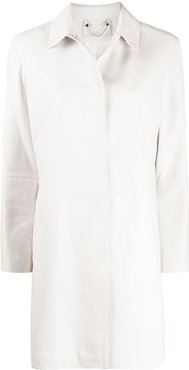 leather straight fit coat - White