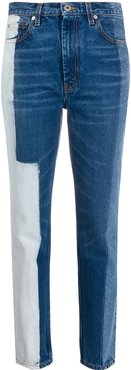 bleach panelled tapered jeans - Blue