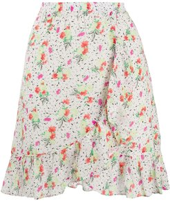 Video floral mini skirt - White