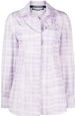Valensole cut-out checked shirt - PURPLE