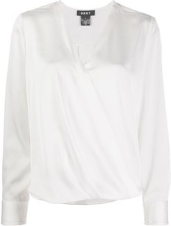 wrapped front blouse - White