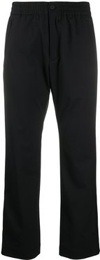 cropped straight-fit trousers - Black
