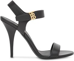 monogram motif leather sandals - Black