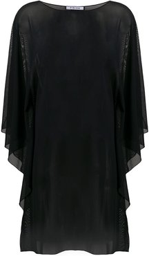 sheer floaty style tunic top - Black