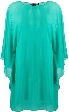 sheer floaty style tunic top - Green