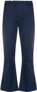 cropped flared-leg trousers - Blue