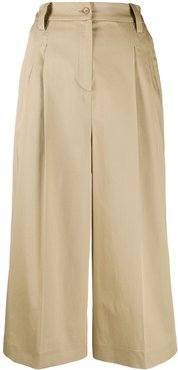 cropped wide leg trousers - Brown