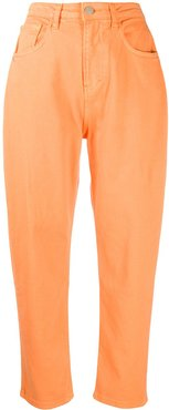 high-rise tapered jeans - ORANGE