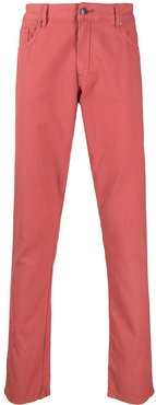 five pocket straight-leg jeans - Red