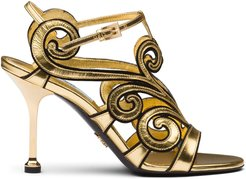 baroque-style ankle strap sandals - GOLD