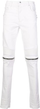 slim-fit zipped detail jeans - White